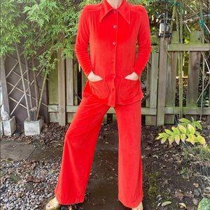 70s velour 2 piece orange suit